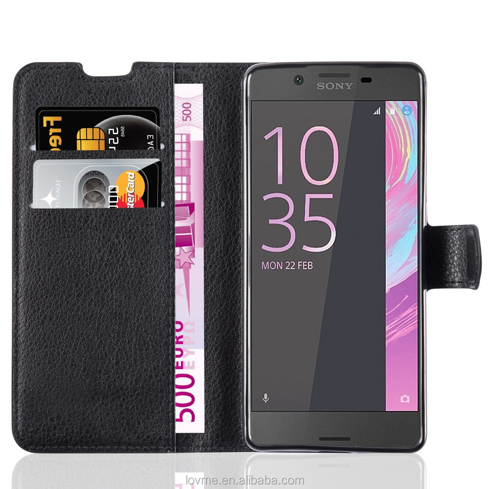 Lichee Leather Wallet Mobile Phone Case Back Cover For Sony xperia E5