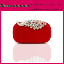 Elegance Bling Bling Rhinestone peacock clutch bag with red stain evening bags for party