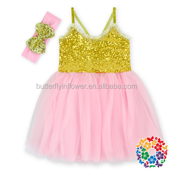 2016 NEW Trendy Spaghetti Strap Summer Gold Sequin Tutu Dress Children Frocks Designs Baby Girls Party Dresses With Headband Set