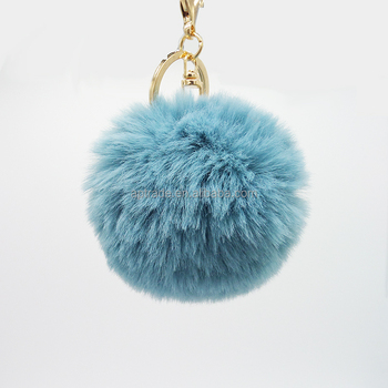 Soft And Bouncy simple and elegant faux rabbit fox fur pompom keychain fluffy ball keyring