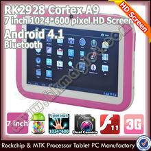 "Hot 7"" colorful android kids learning bluetooth children tablet"
