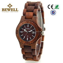 New Design Vogue Lady Watches Fashion Eco-Friendly Wood 100% Natual Red Sandal Wooden with Calendar