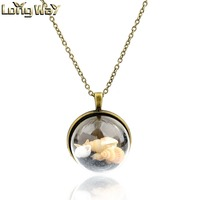 "Vintage Style Shell And Stone Glass Locket Pendant Necklace with 26"" Rolo Chain"