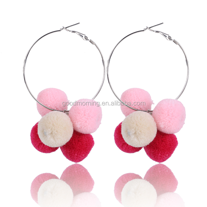 Big Hoop Earring For Girls With Pom pom Colorful Ball Fashion Earrings