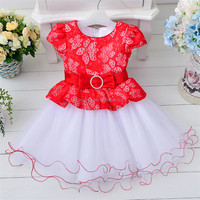 2016 round neck summer breathable O-neck beautiful gowns for kids in wedding