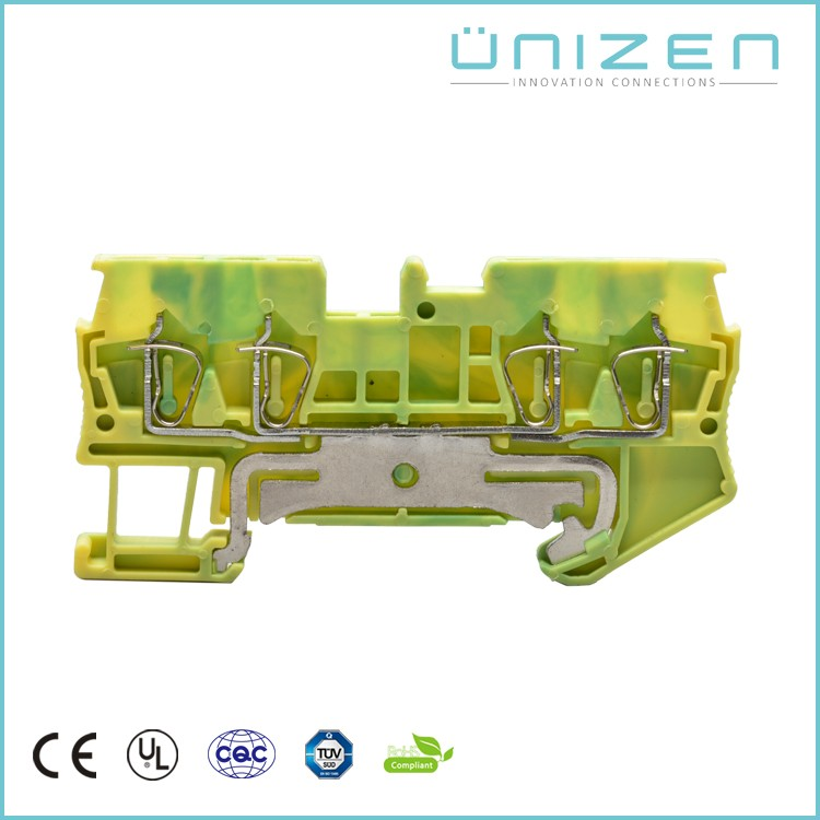 UNIZEN mounted terminal block yellow green earth din rail terminal block 4poles two in two out