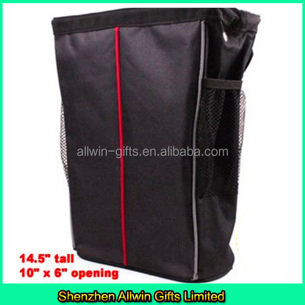 Leakproof Car Garbage can car trash bag with two mesh pockets