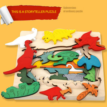 children toys new 2016 design storyteller animal wooden puzzle toy school bus