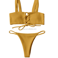 Swimwear factory adjustable string bra high quality polyamide padded bandeau bikini top with straps