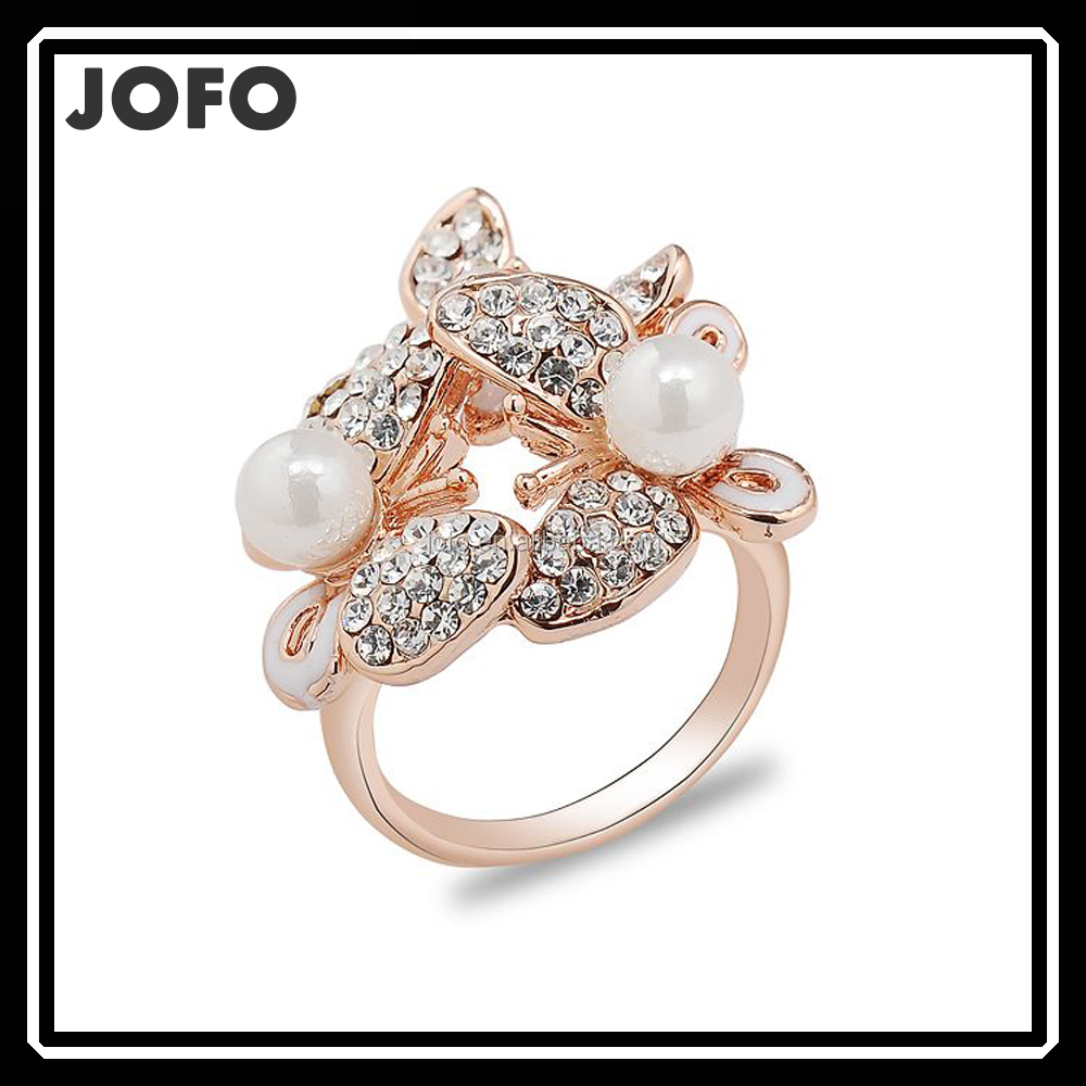 Alibaba Fashion Flying Double Butterfly Jewelry Women 18k Real Rose Gold Ring With Pearl And Rhinestone FGJ0288