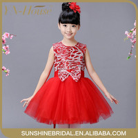 Free shipping new model one piece party dress cotton frock designs girl fancy flower dress