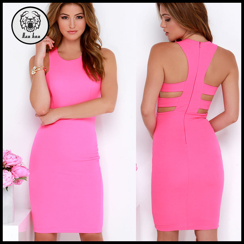 Hot Girl Sleeveless Sexy Hot Pink Knee Length Bodycon Midi Dress with Back Straps