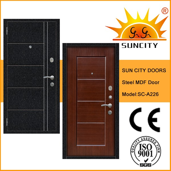 SC-A226 Latest Stainless Steel Safety Door Design with Grill, Paint Colors PVC Exterior Door Prices