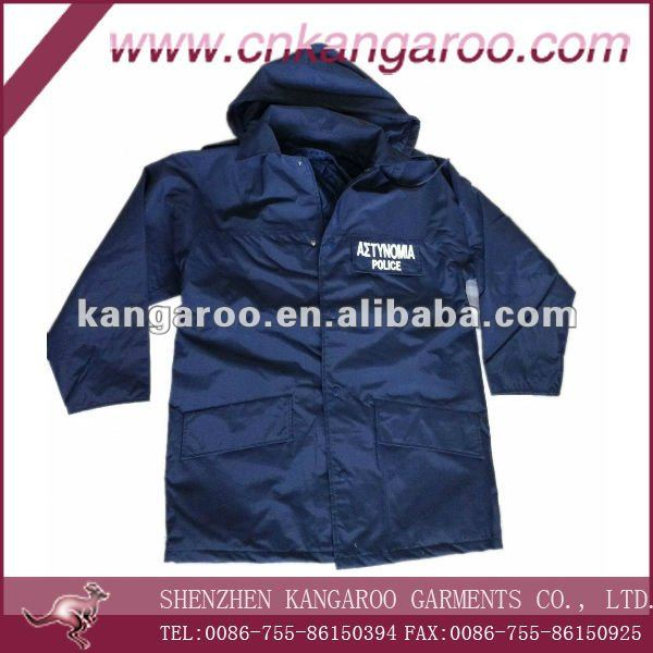 Men Nylon TPU membrane Polyester lining waterproof breathable public security Guard jacket