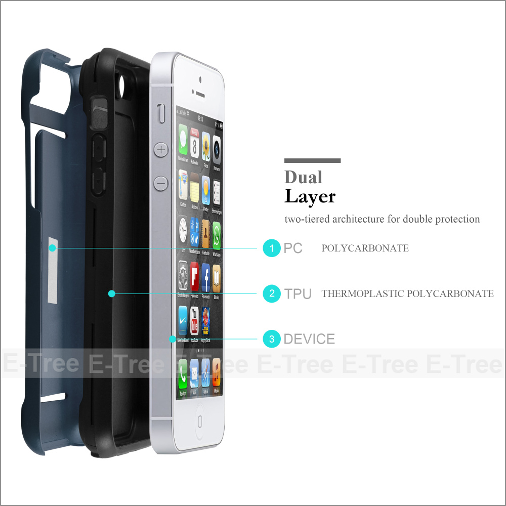 Factory Price New Credit Card case TPU+PC Mobile Phone Case for iPhone 5, PC Mobile Cover for iPhone 5
