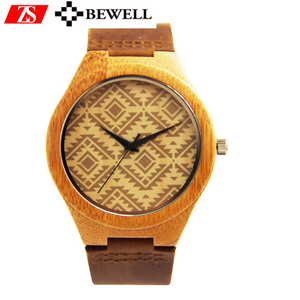 Brand your own logo watch handmade customized OEM bamboo wood and leather watches