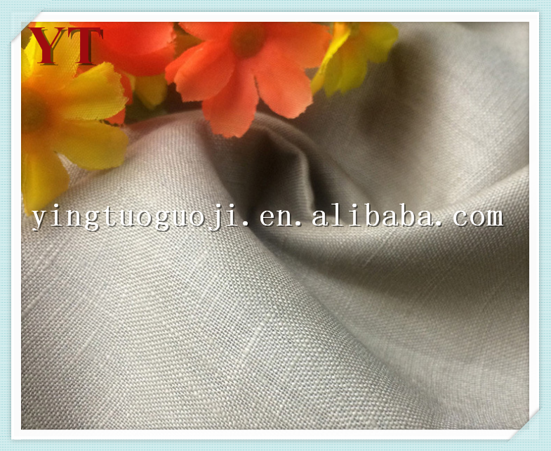high quality woven plain dyed 100% flax linen fabric for shirt