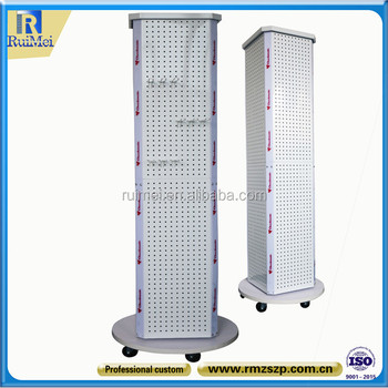 Floor Standing Rotating Pegboard Hanging Display Stand