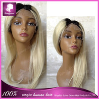 brazilian straight human hair middle parts 130% density ombre #1b/60 blonde dark roots lace front wigs
