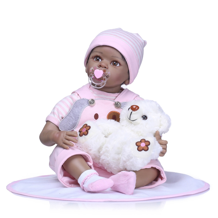 NPK 55cm Silicone Reborn Boneca Realista Fashion Baby <strong>Dolls</strong> For Princess Children Birthday Gift Bebes Reborn black <strong>Dolls</strong>