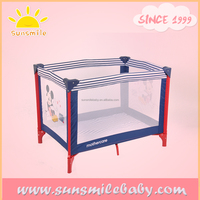 ASTM F406 easy carrying baby campcot park bed folding baby cots pictures printed wholesale factory supplier