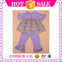 2015 Super Fashion Children's Spring Baby Purples Clothing Toddler Persnickety Remark Ruffle Pant Boutique Outfits Sets