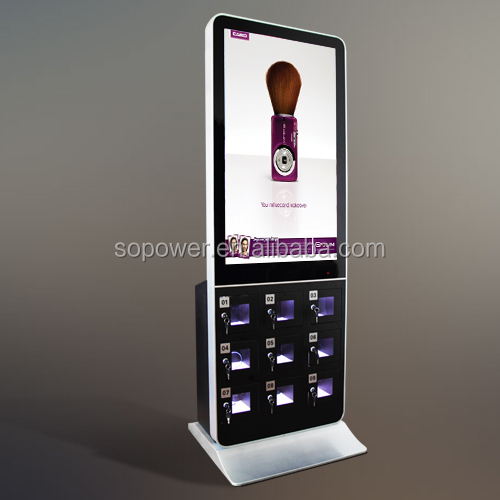 Floor Stand Mobile Phone Charging Station Vending Machine Interactive Charger Kiosk With Digital Signage Display