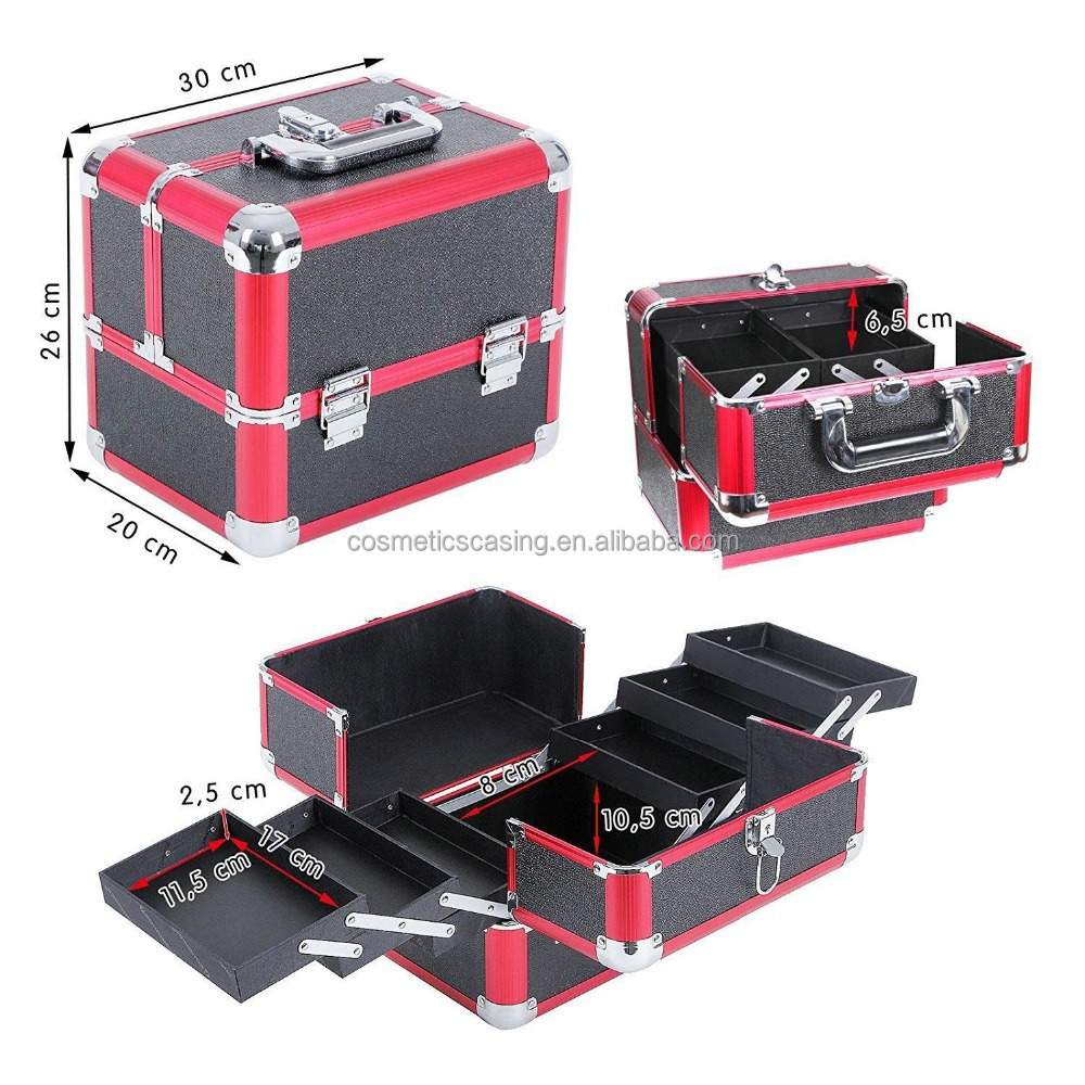 Professional Cosmetic Makeup Case Storage Organizer Drawer RED Nail Art storge case