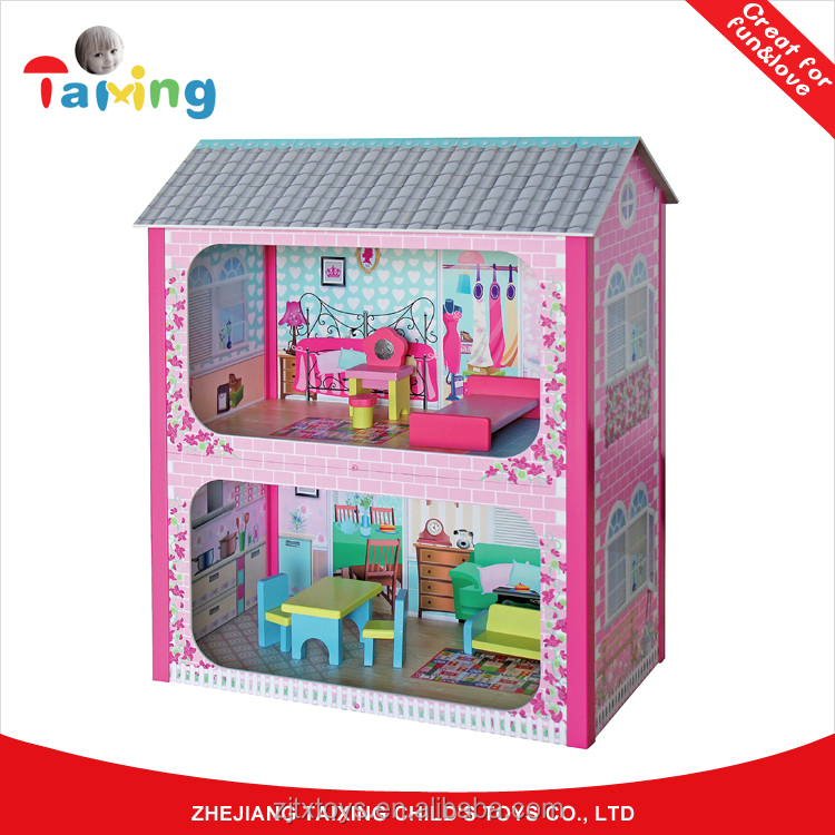 Child Pretend Wooden Doll House Toy With Furnitures Accessories And Front Walls TX1098