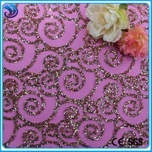 fancy gold mesh embroidery fabric for wedding dress lace with heavy beads sequence