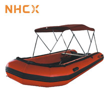 600D UV-protection boat tent 4 Bow Inflatable Boat Bimini Top with Rear Support Pole and Storage Boot