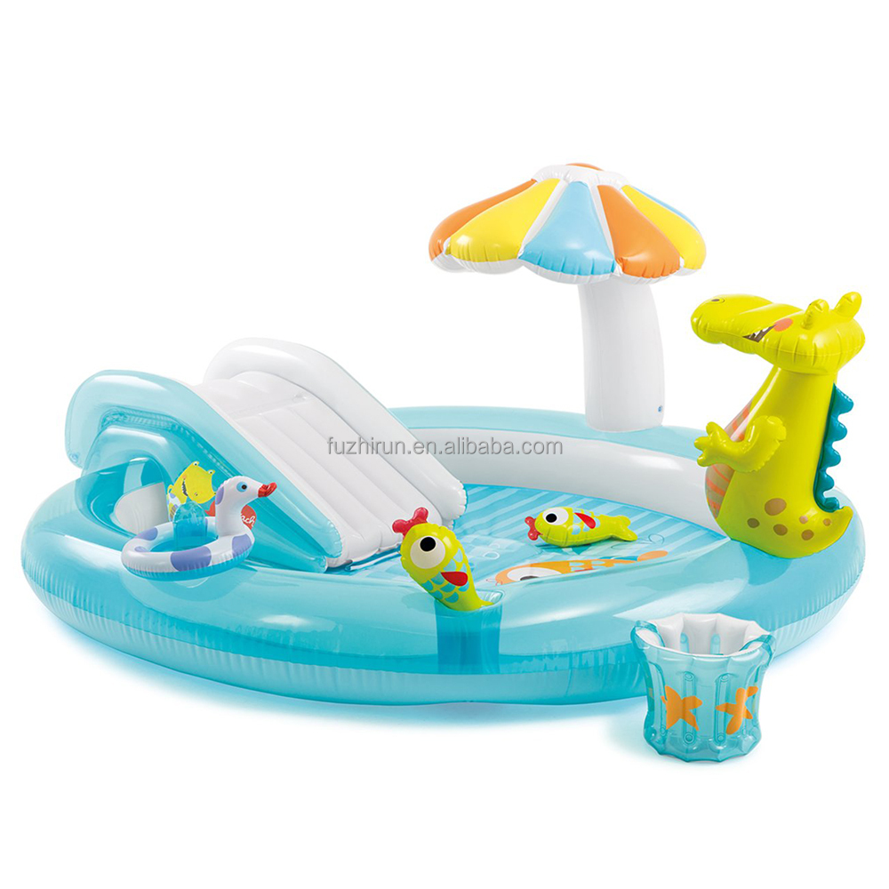 Intex 57129 Plastic Inflatable Kiddie Spray Wading Pool with Slide