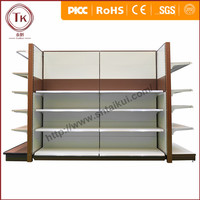 Double side supermarket rack with end shelf