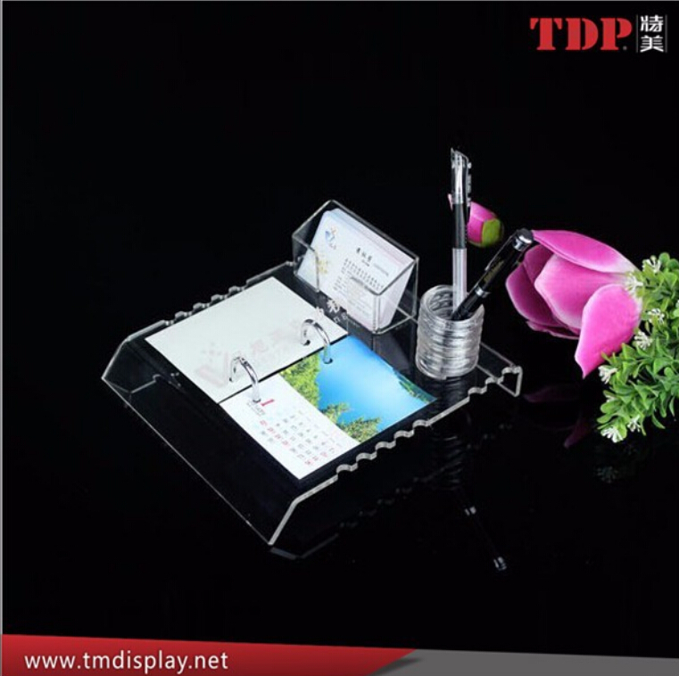 new design desktop reading stand plastic table calendar holder desktop calendar holder with card pounch and pen holder