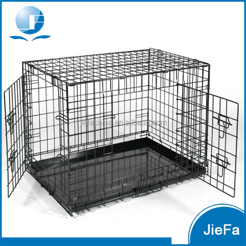 "24"" 30"" 36"" 42"" 48"" wire metal folding pet dog cage crate kennel w/2-doors w/ abs plastic removable tray"
