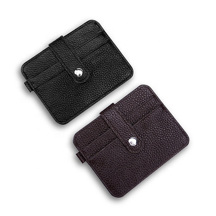 Multifunctional ID card holder personality thin style card cover button cowhide leather wallet