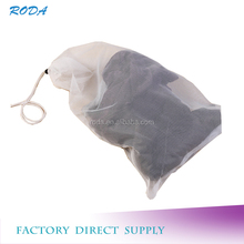 polyester mesh fabric white drawstring mesh bag for clothes storage or washing