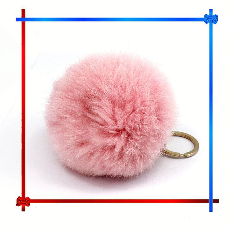 AD006 real tennis fur ball key chain