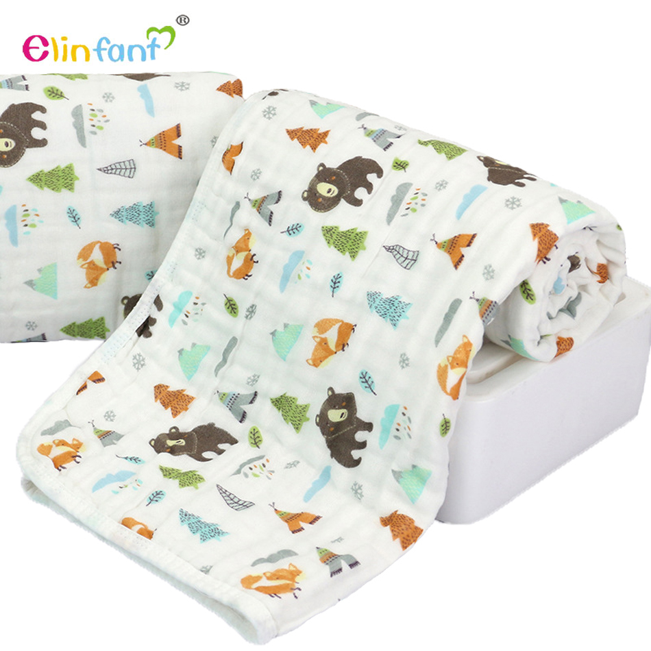Elinfant 100 cotton baby towel 6 layers muslin swaddle blankets