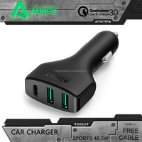 AUKEY Quick Charge 3.0 3 Port USB / Type C Car Charger For Nexus 5X 6P Nokia N1 OnePlus 2 Apple MacBook 12'' Lumia 950 / 950XL