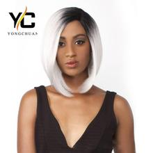 alibaba in russian cheap synthetic lace front short bob wigs with baby hair for black women, ombre black to grey celebrity wig