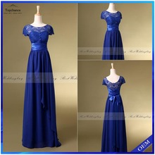 Wholesale Real Photo Short Sleeve Royal Blue Chiffon Long Bridesmaid Dresses