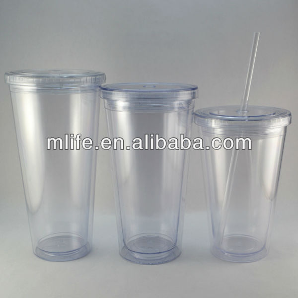 double wall clear hard plastic cups with straws