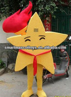 Plush star mascot costume with torch yellow adult star mascot costume