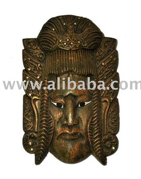 Wooden Chinese Warrior Mask Wall Hanger Decoration Furniture Wood Carving Thailand High Quality Handmade Antique Woodcraft