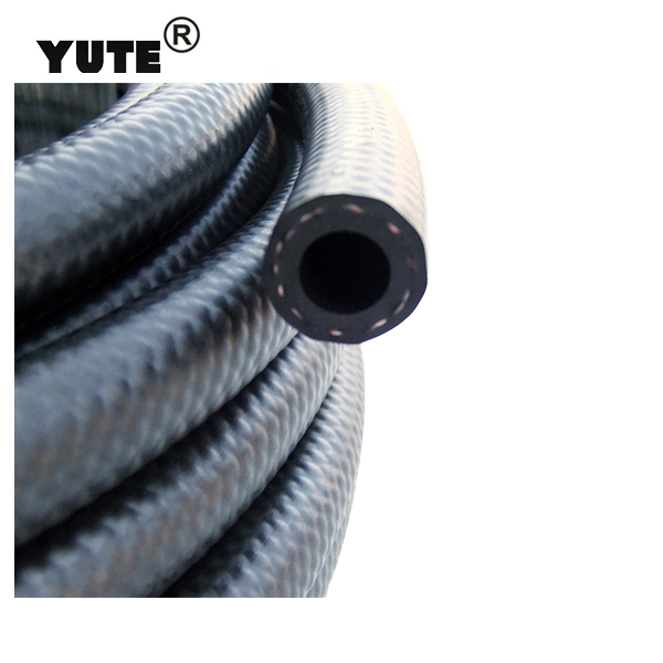 YUTE brand black flexible braided ts 16949 fkm rubber fuel hose