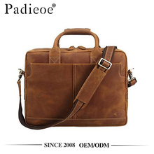 Padieoe PDA136-2 Brown leather messenger briefcase computer bag laptop