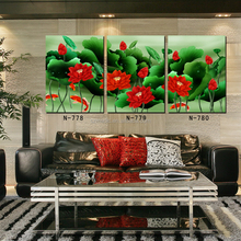 3 Panel Traditional Chinese Red Lotus Green Leaves Canvas Prints Abstract Flower Oil Painting Koi Fish Wall Pictures