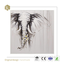 Home Decor Arts And Crafts New Products Knife Mixture Abstract Modern Style Animal Elephant Oil Painting Canvas Wall