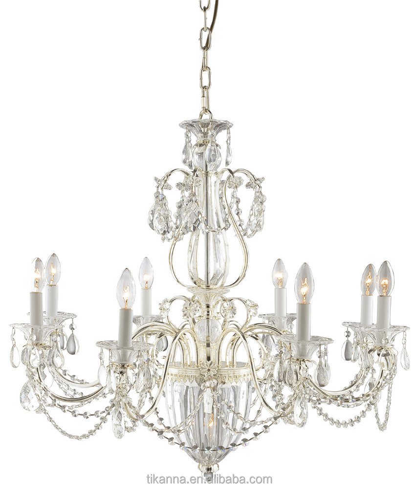 wholesale factory price 9 arms silver iron crystal glass classic pendant lamp